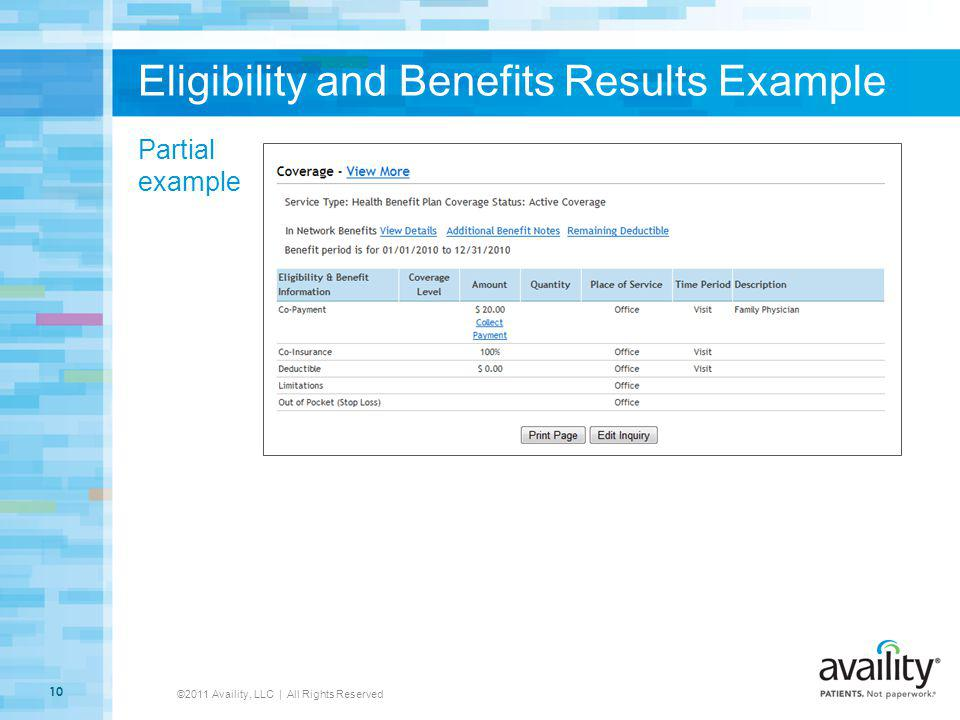 Eligibility and Benefits Results Example