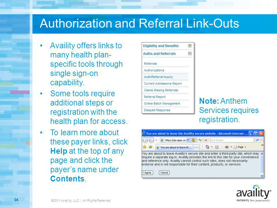 Authorization and Referral Link-Outs