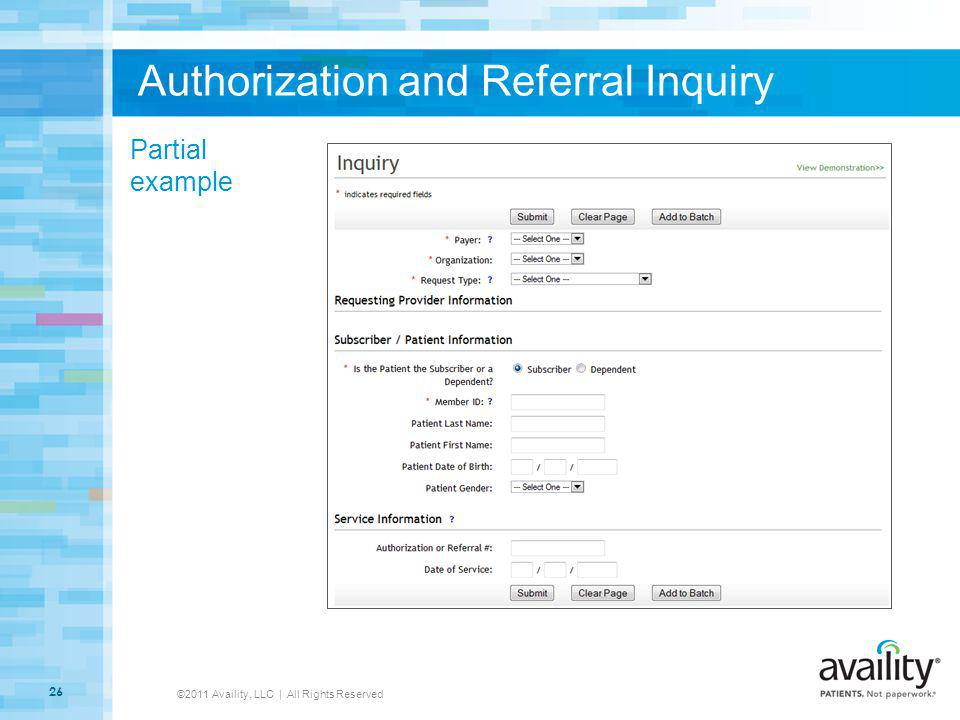 Authorization and Referral Inquiry