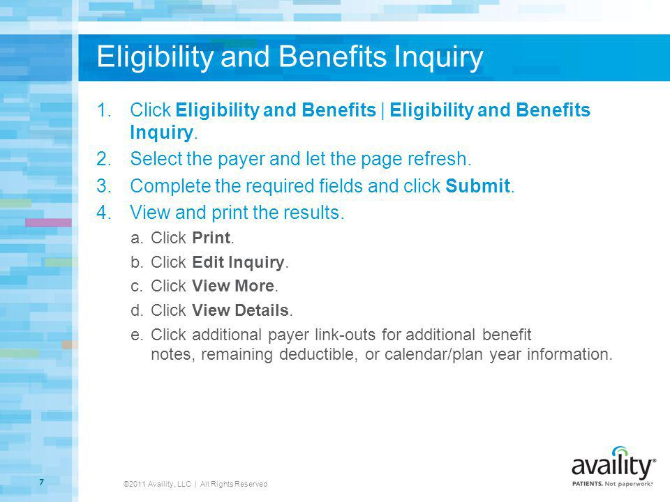 Eligibility and Benefits Inquiry