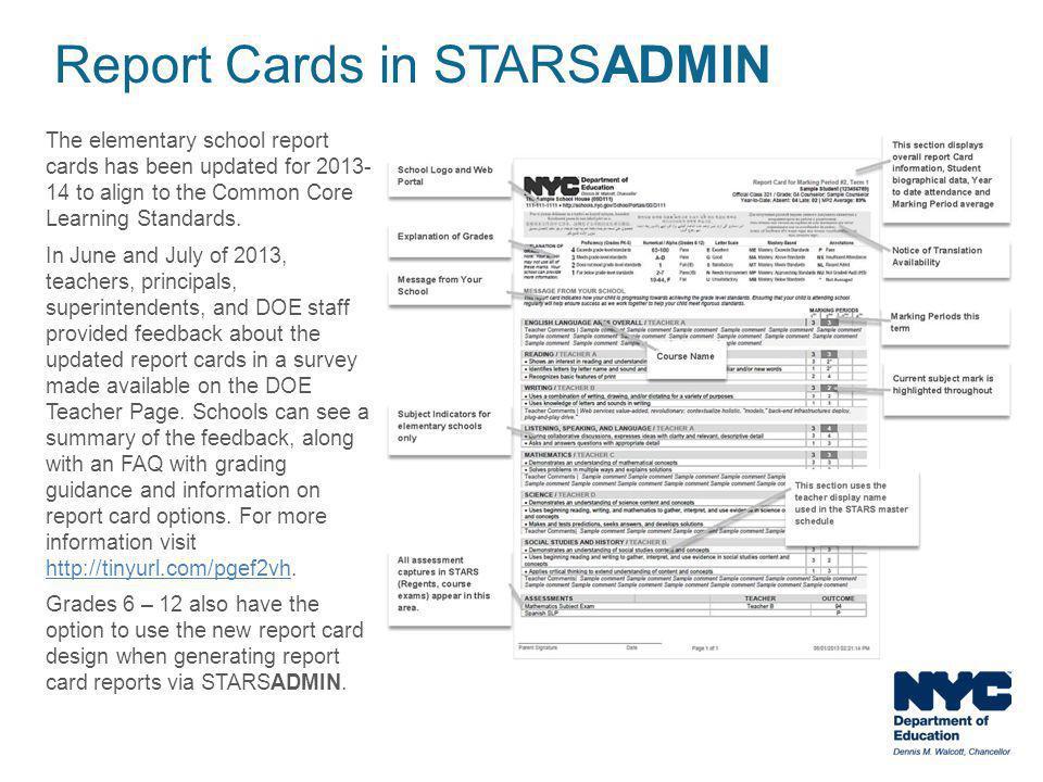 Report Cards in STARSADMIN