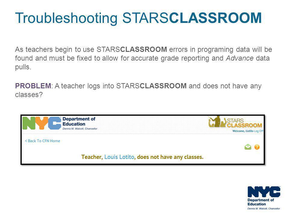 Troubleshooting STARSCLASSROOM