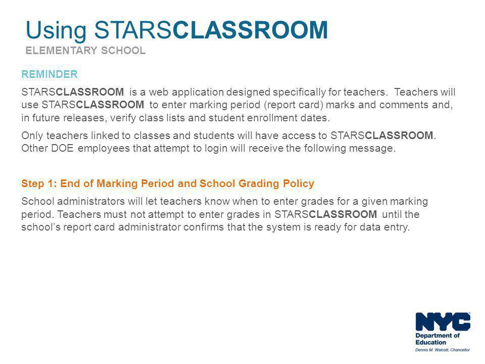 Using STARSCLASSROOM ELEMENTARY SCHOOL
