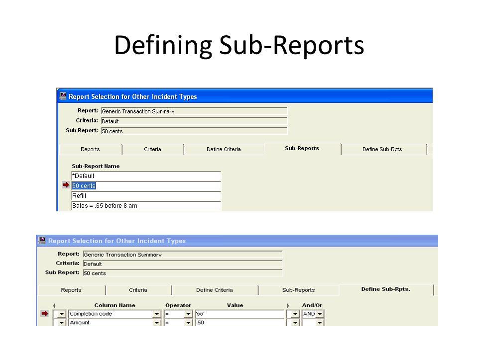 Defining Sub-Reports
