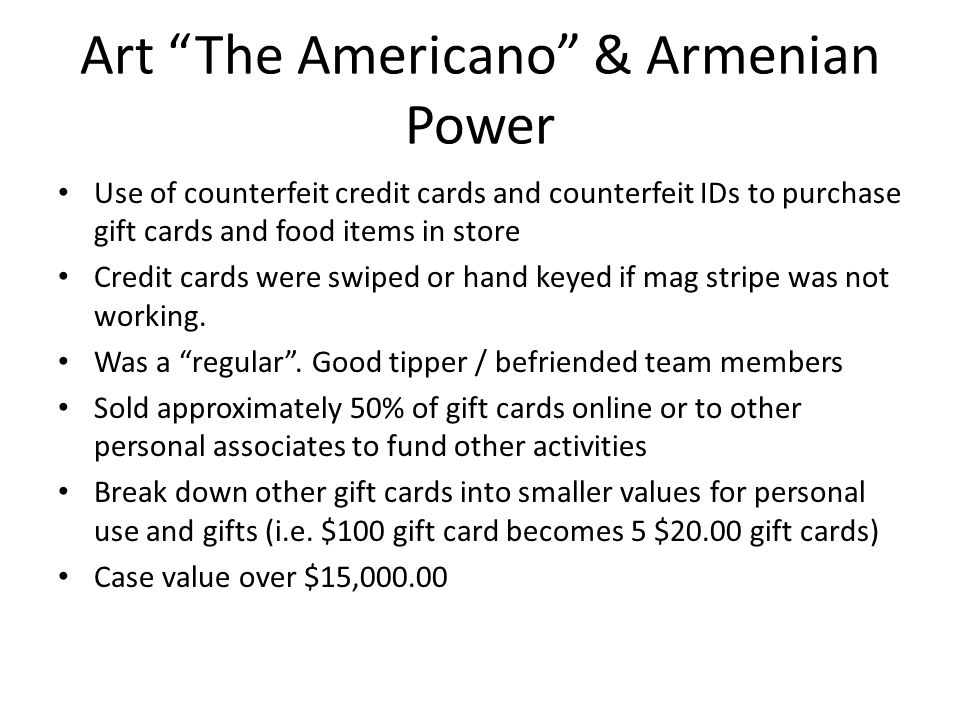 Art The Americano & Armenian Power