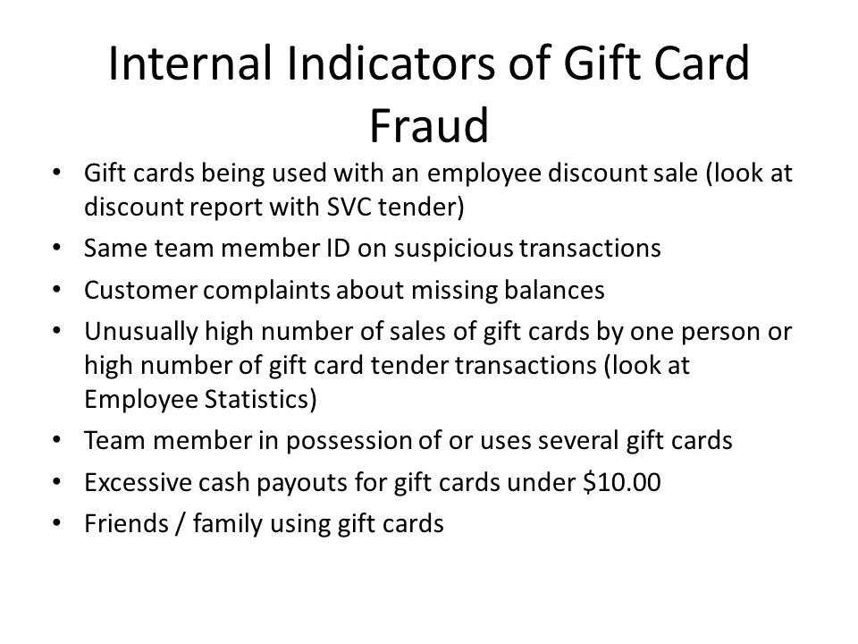Internal Indicators of Gift Card Fraud