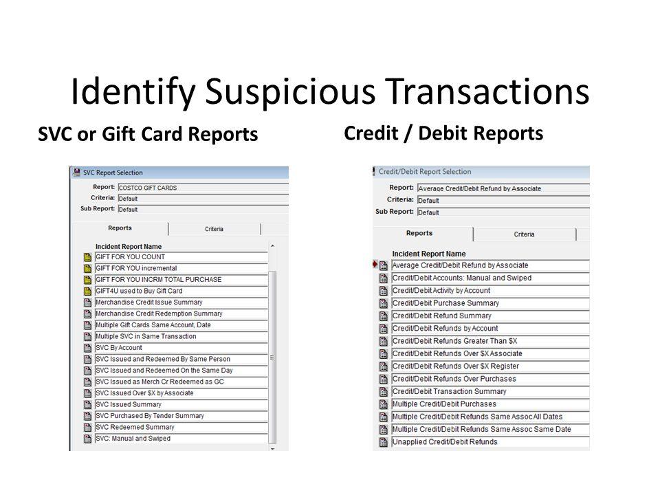 Identify Suspicious Transactions