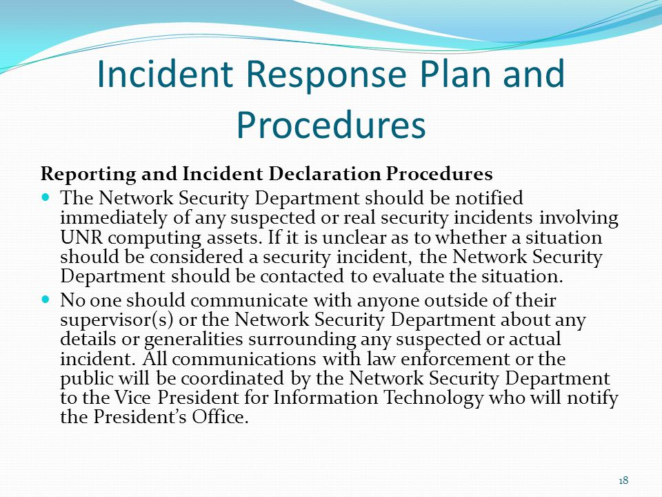 Incident Response Plan and Procedures