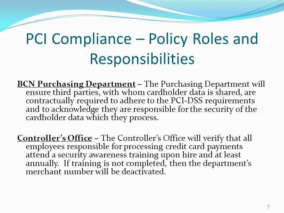 PCI Compliance – Policy Roles and Responsibilities