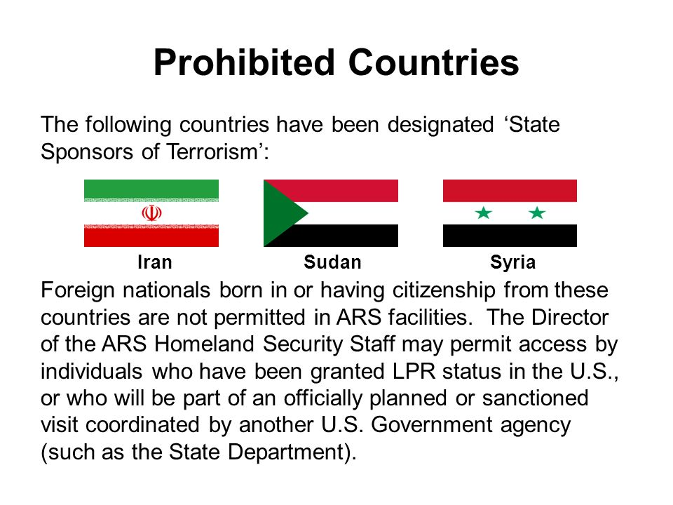Prohibited Countries