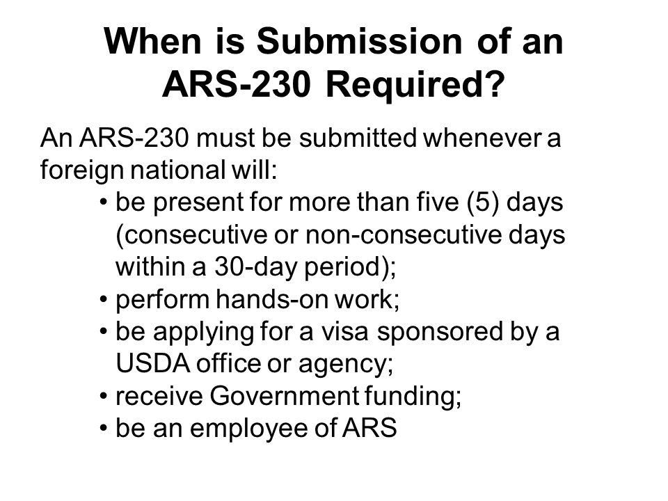 When is Submission of an ARS-230 Required
