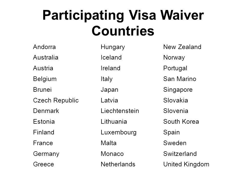 Participating Visa Waiver Countries
