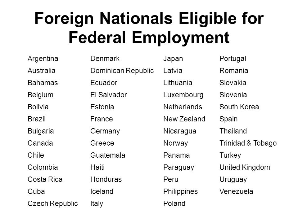 Foreign Nationals Eligible for Federal Employment