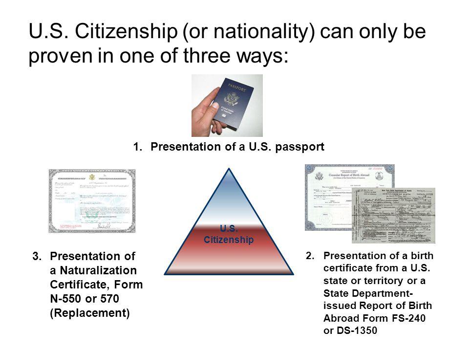 Presentation of a U.S. passport