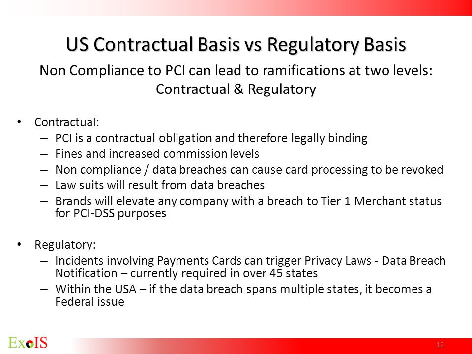 US Contractual Basis vs Regulatory Basis