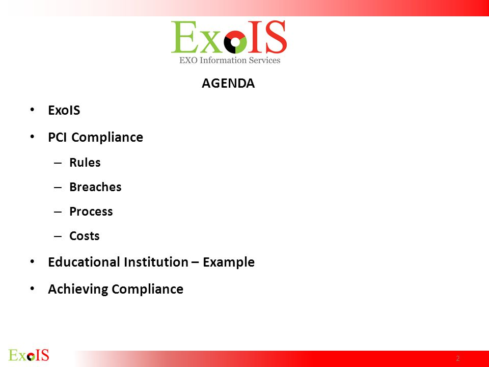 Educational Institution – Example Achieving Compliance