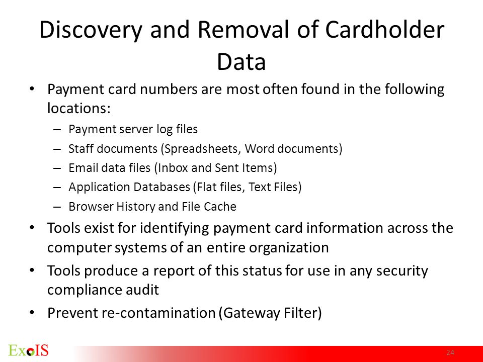 Discovery and Removal of Cardholder Data