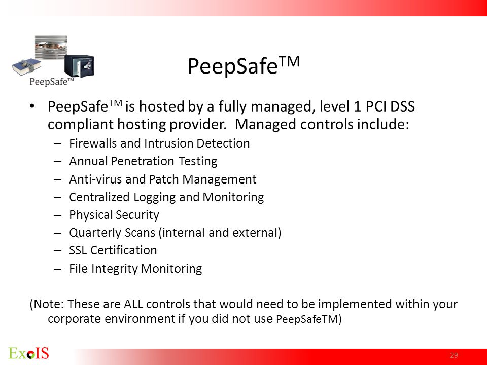 PeepSafeTM PeepSafeTM is hosted by a fully managed, level 1 PCI DSS compliant hosting provider. Managed controls include: