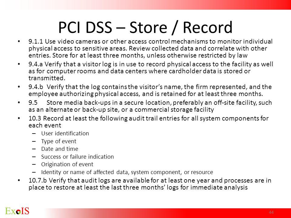 PCI DSS – Store / Record