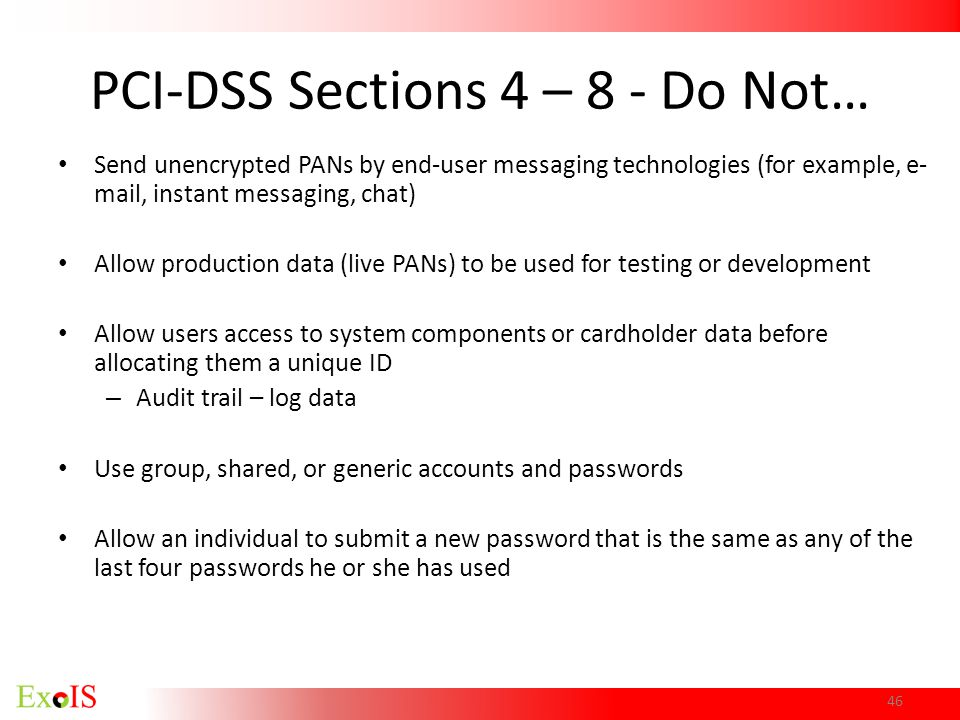 PCI-DSS Sections 4 – 8 - Do Not…