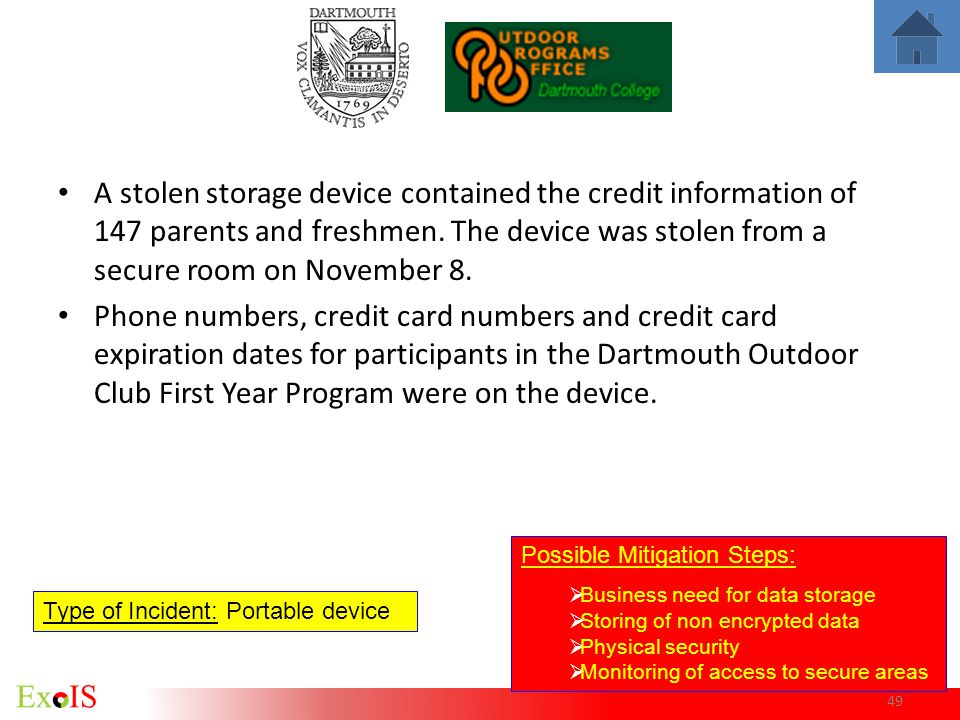 A stolen storage device contained the credit information of 147 parents and freshmen. The device was stolen from a secure room on November 8.