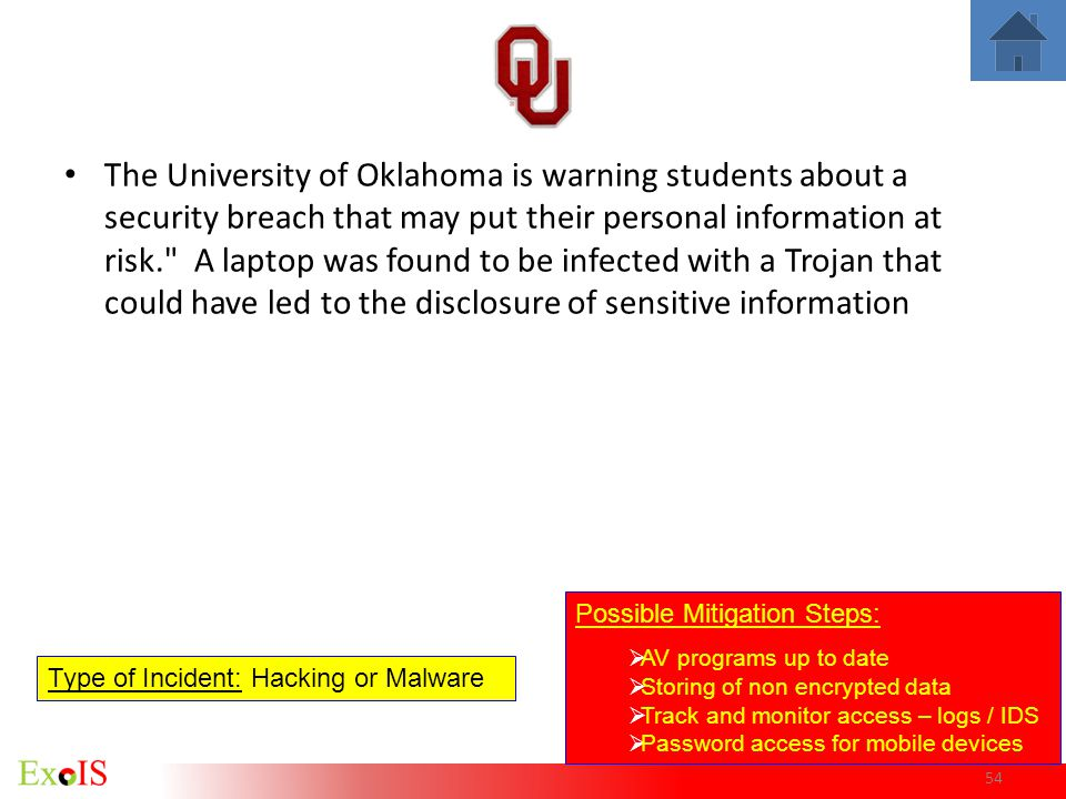 The University of Oklahoma is warning students about a security breach that may put their personal information at risk. A laptop was found to be infected with a Trojan that could have led to the disclosure of sensitive information