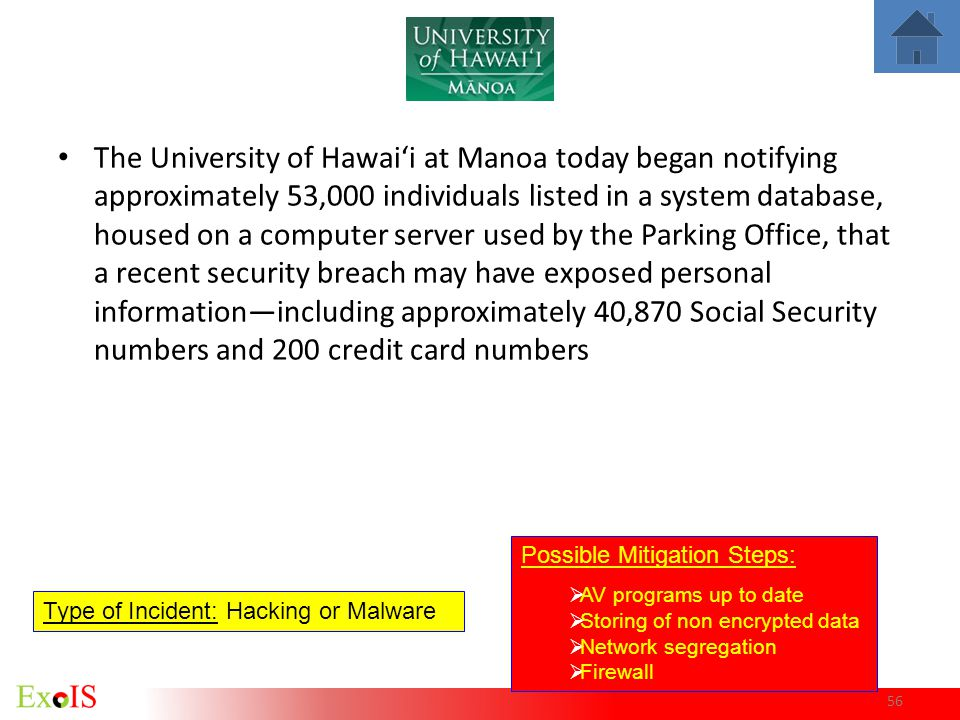 The University of Hawai'i at Manoa today began notifying approximately 53,000 individuals listed in a system database, housed on a computer server used by the Parking Office, that a recent security breach may have exposed personal information—including approximately 40,870 Social Security numbers and 200 credit card numbers
