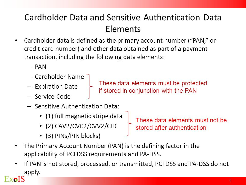 Cardholder Data and Sensitive Authentication Data Elements