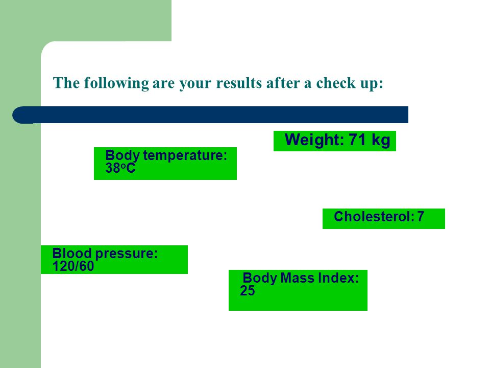 The following are your results after a check up: