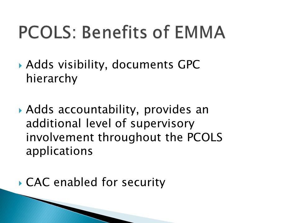 PCOLS: Benefits of EMMA
