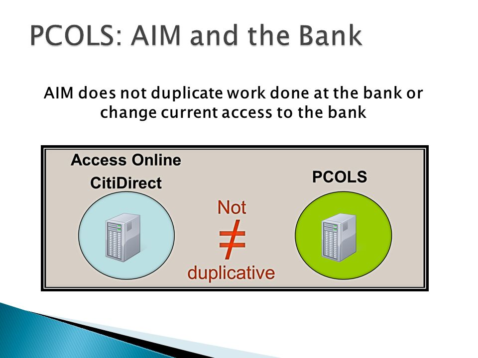 PCOLS: AIM and the Bank All DOD GPC Attendees. AIM does not duplicate work done at the bank or change current access to the bank.