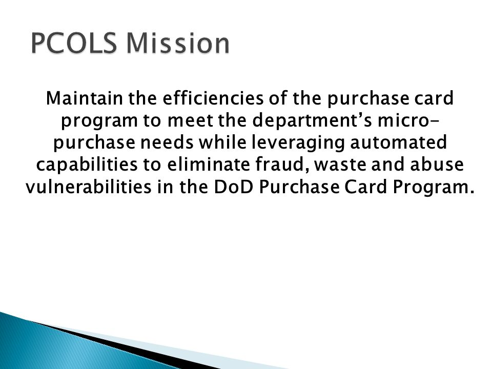 PCOLS Mission