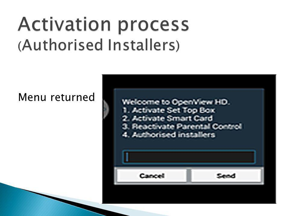 Activation process (Authorised Installers)