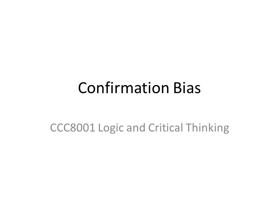 CCC8001 Logic and Critical Thinking