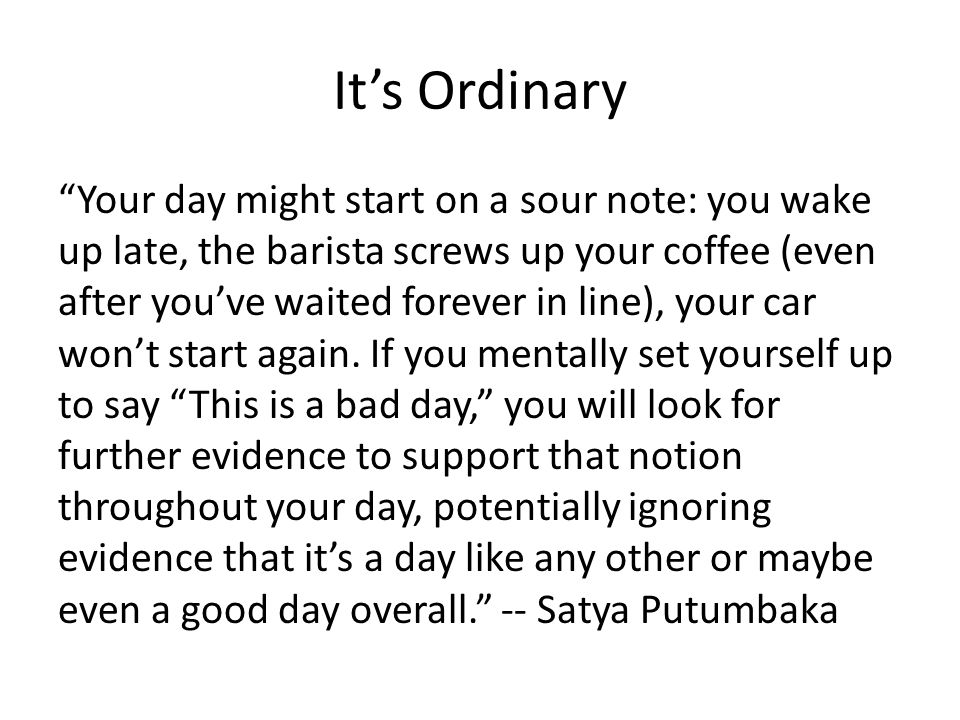 It's Ordinary
