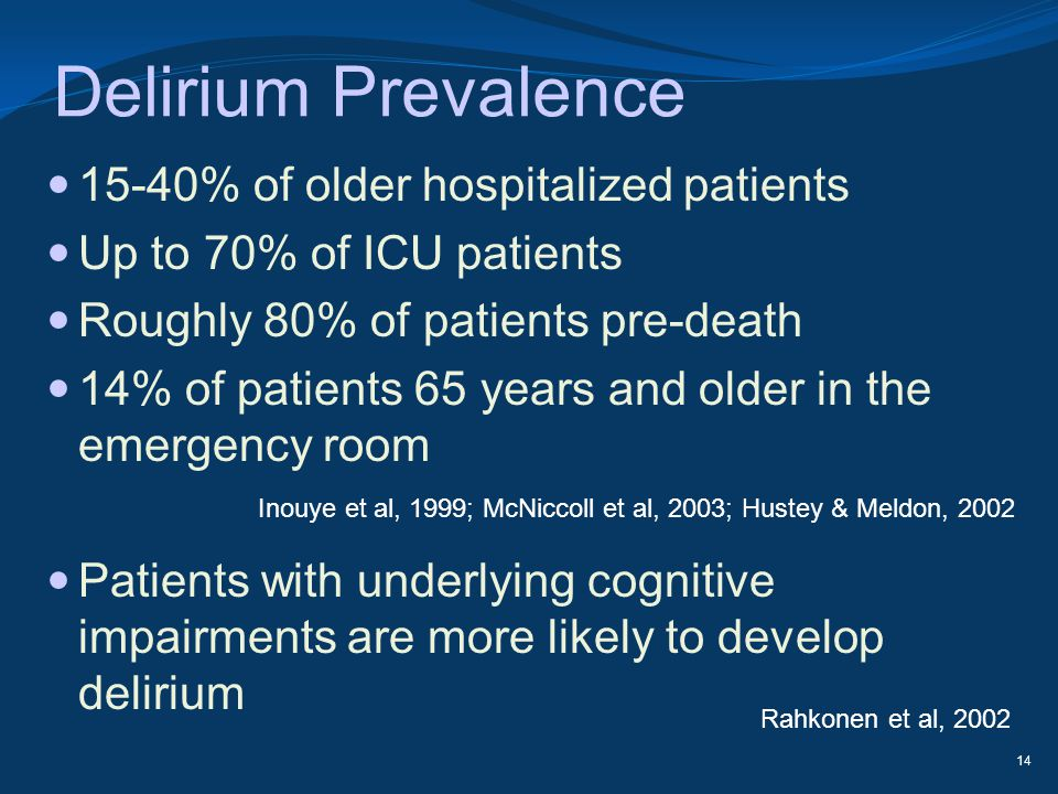 Delirium Prevalence 15-40% of older hospitalized patients