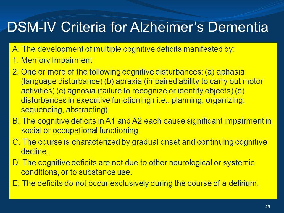 DSM-IV Criteria for Alzheimer's Dementia