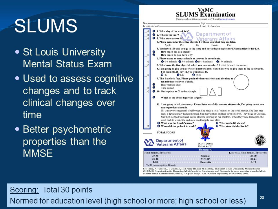 SLUMS St Louis University Mental Status Exam