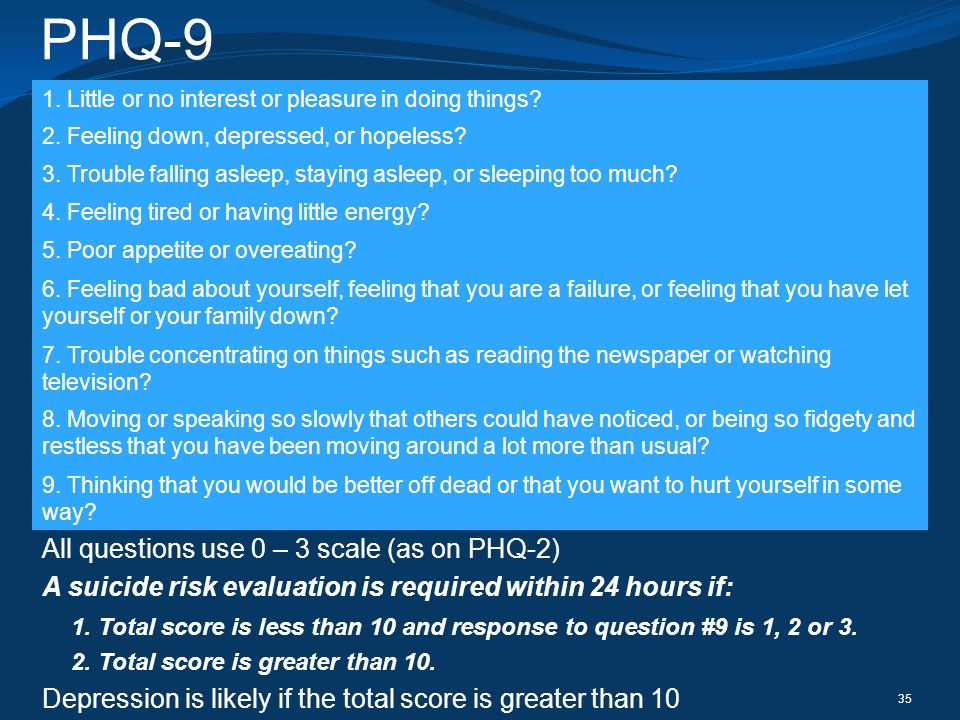 PHQ-9 All questions use 0 – 3 scale (as on PHQ-2)