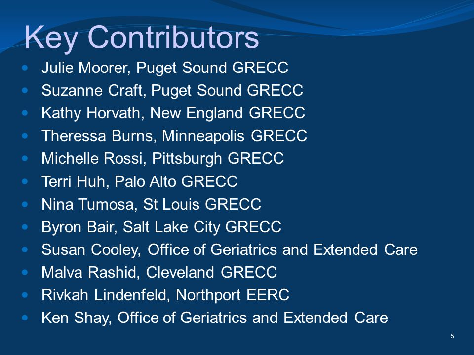 Key Contributors Julie Moorer, Puget Sound GRECC