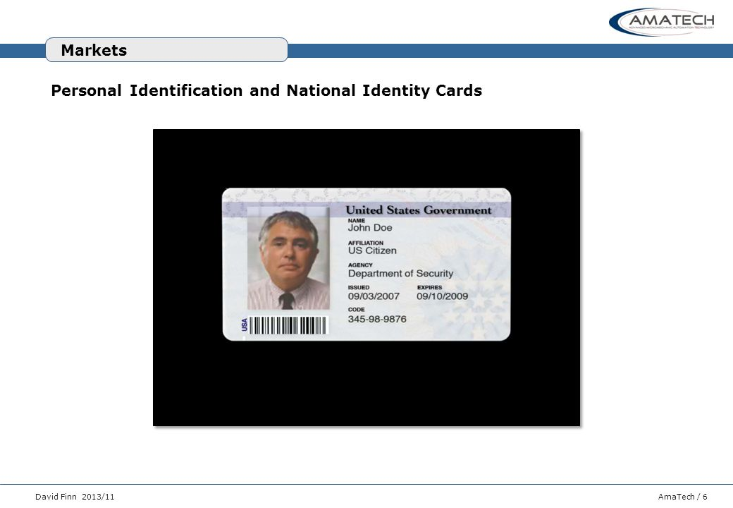 Markets Personal Identification and National Identity Cards