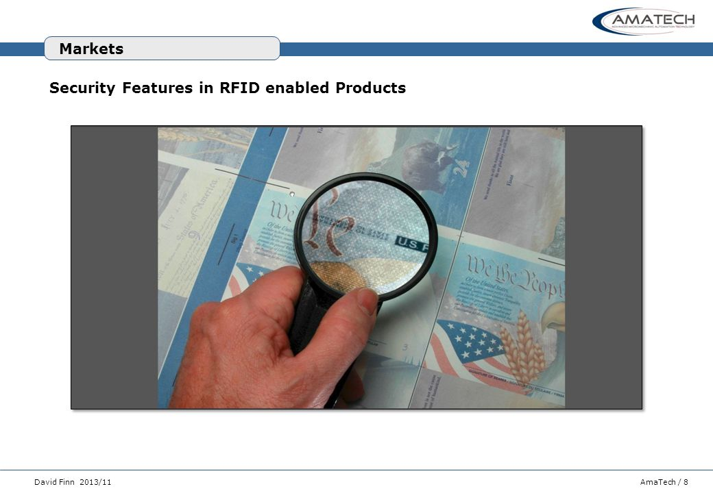 Markets Security Features in RFID enabled Products
