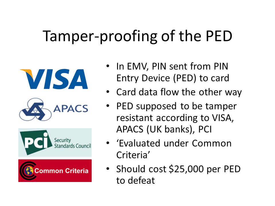 Tamper-proofing of the PED