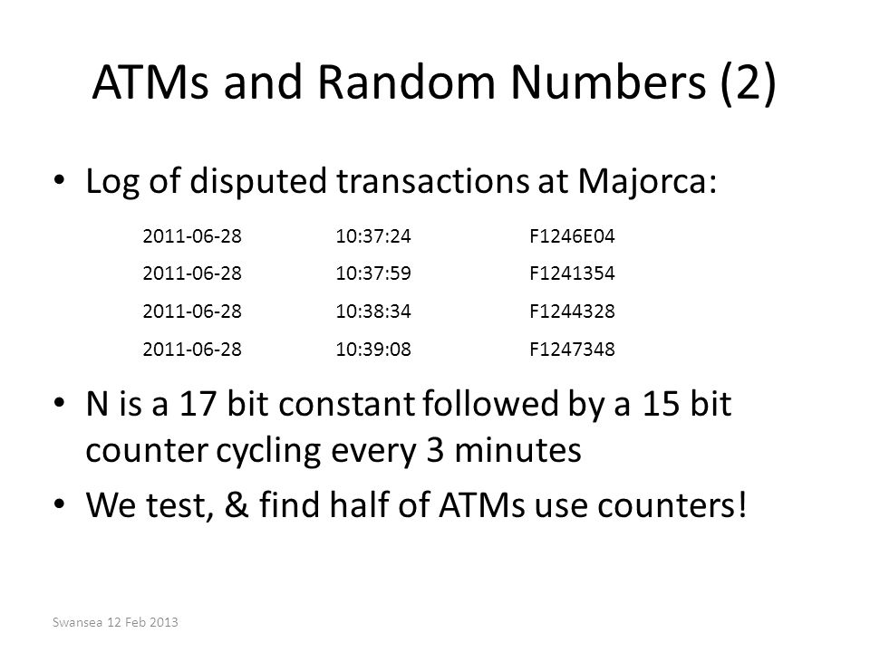 ATMs and Random Numbers (2)