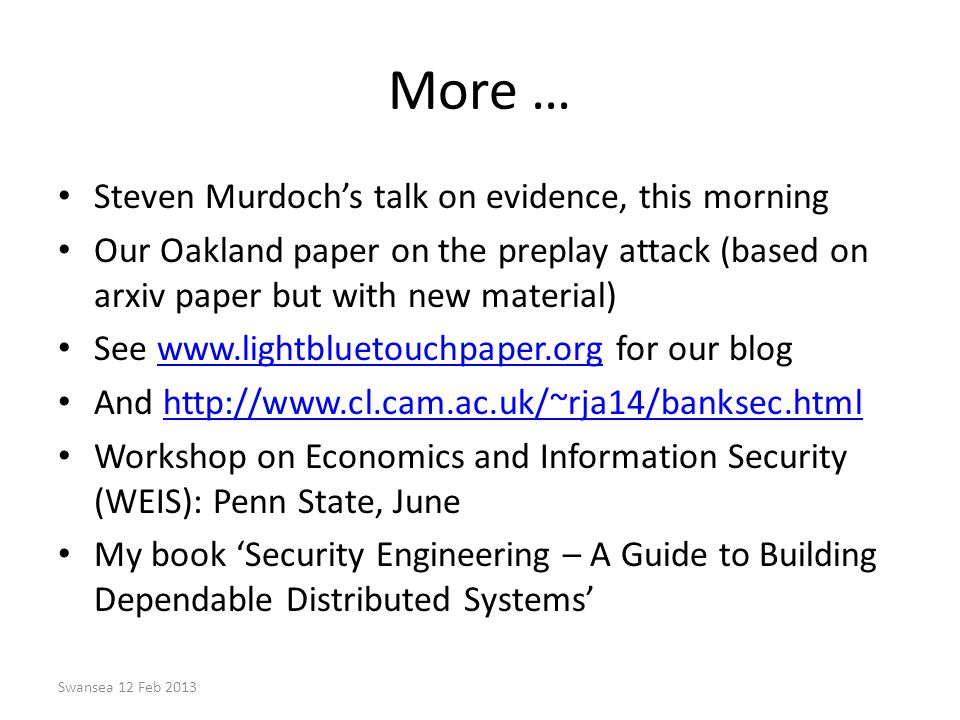 More … Steven Murdoch's talk on evidence, this morning