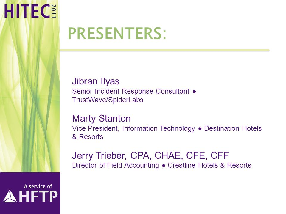 Presenters: Jibran Ilyas Marty Stanton