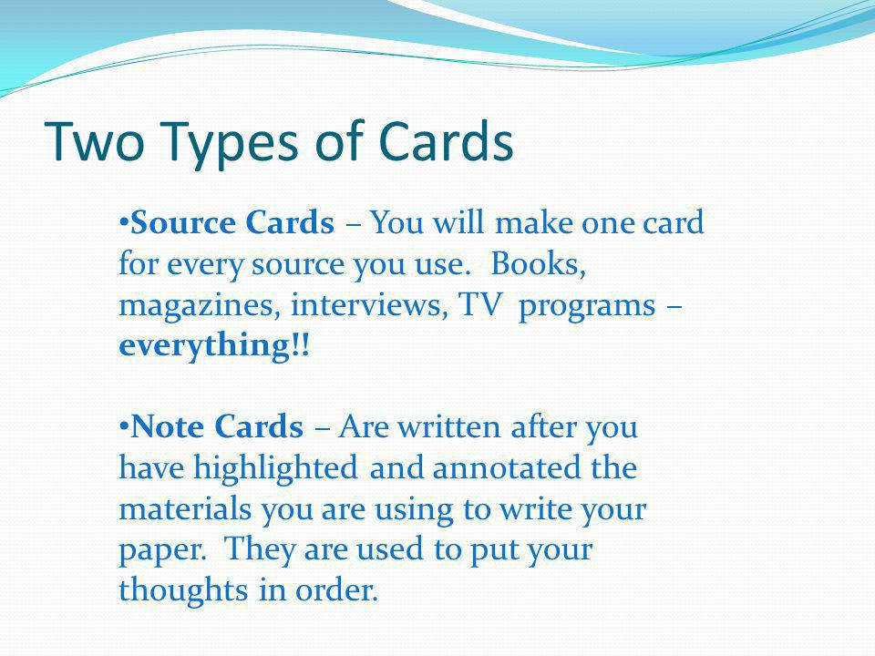 what to put on note cards for a research paper Source cards and note cards research note‐taking source card • you will need to create a source card for each source you use • each source card should include.