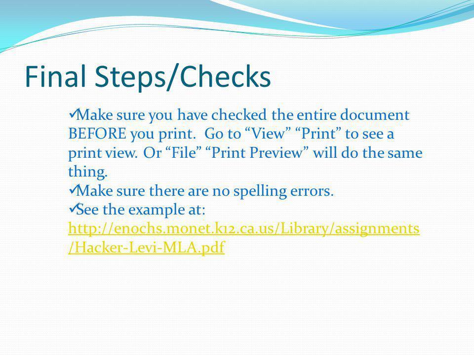 Final Steps/Checks