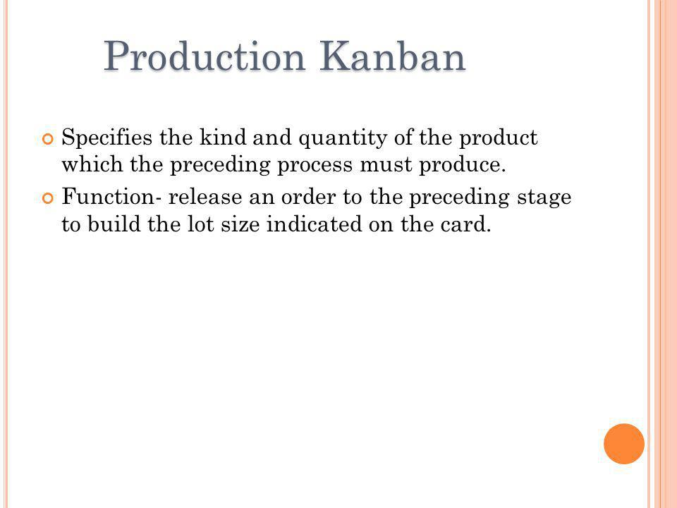 Production Kanban Specifies the kind and quantity of the product which the preceding process must produce.