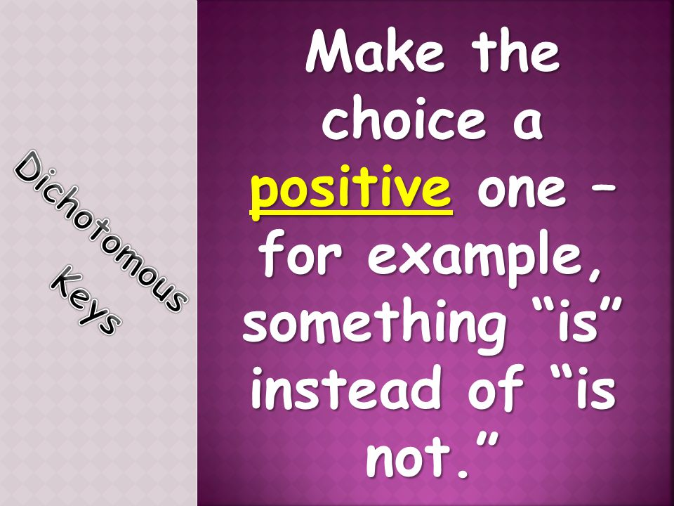 Make the choice a positive one –